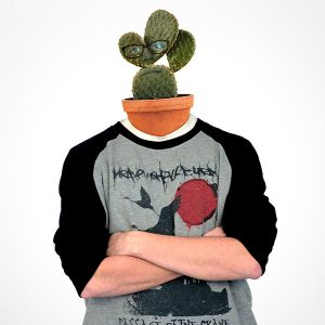 Unser Anwendungsentwickler Kevin mit einem Kaktus als Kopf