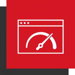 Schnelle Ladezeiten - 2 Kästen (1A! Rot und Dunkelgrau) mit einem Browser Fenster und einem Tachometer als Icon