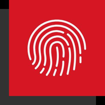 Wiedererkennungswert - 2 Kästen (1A! Rot und Dunkelgrau) mit einem Fingerabdruck Symbol