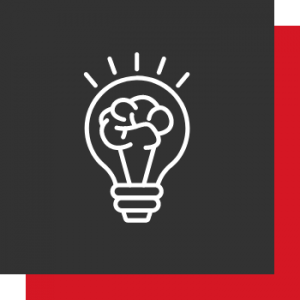 Kreativität - 2 Kästen (1A! Rot und Dunkelgrau) mit einer Glühbirne in der Mitte, welche als Fassung ein Gehirn abgebildet hat