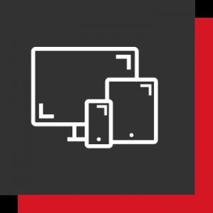 Responsive - 2 Kästen (1A! Rot und Dunkelgrau) mit 3 Devices als Icons